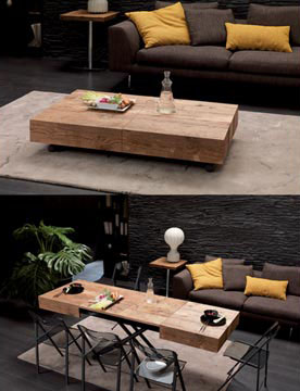 A mesa de centro pode virar uma mesa de jantar (Foto: BR.Pinterest.com.br)