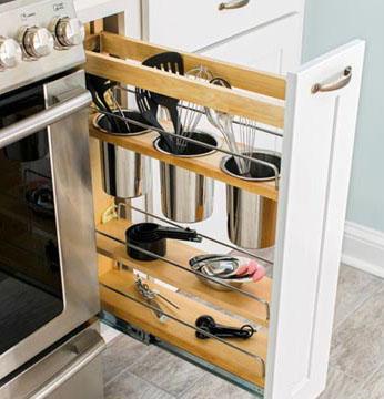 Na cozinha, uma pequena gaveta pode servir para guardar os utensílios (Foto: BR.Pinterest.com.br)