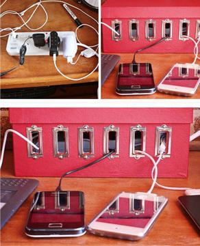 Uma dica para manter os acessórios tecnológicos organizados, e evitar que fios fiquem espalhados, é usar uma caixa de sapato, com uma extensão (Foto: Br.Pinterest.com)