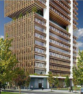Canadá constrói arranha-céu usando concreto e madeira