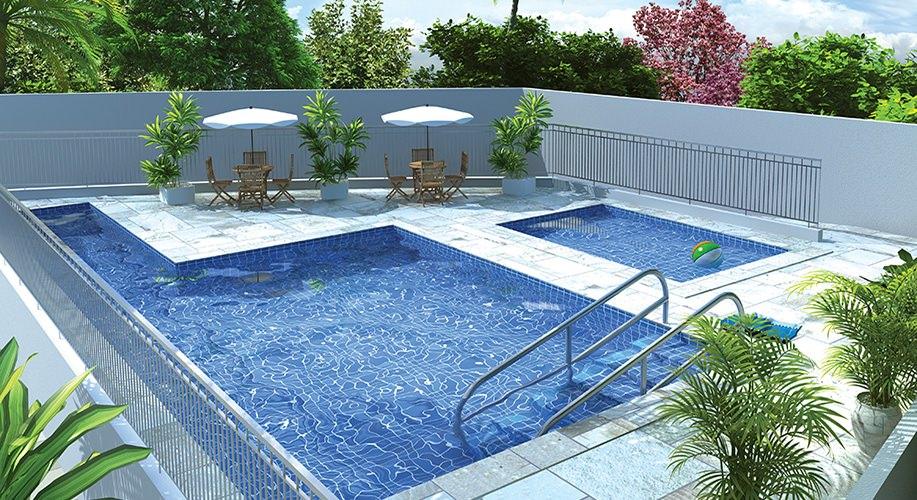 Perspectiva artística da piscina - Conquista Planalto