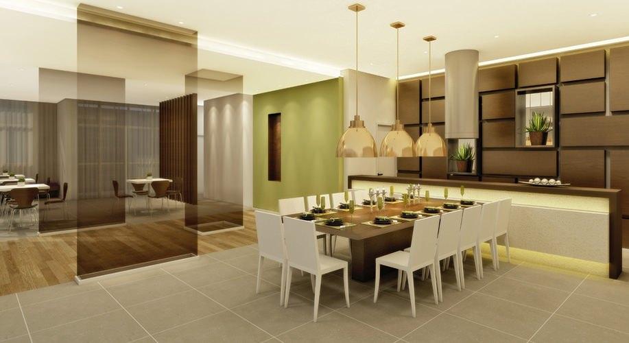 Perspectiva artística do salão de festas com espaço gourmet - Paseo Diadema