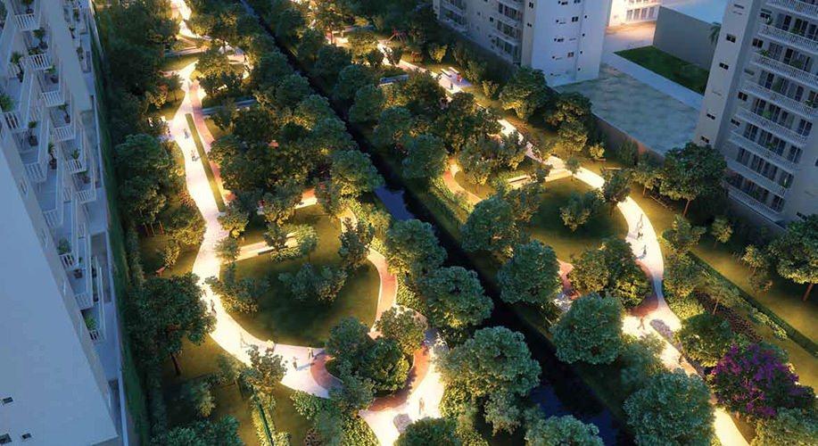 Perspectiva artística do Parque Cidade Viva e Parque de Convivência - Cidade Viva Residencial