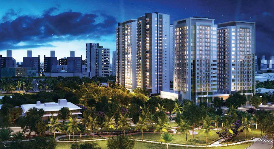 Perspectiva artística das fachadas (Residencial e Offices) - Cidade Viva Residencial
