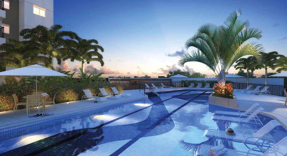 Perspectiva artística das piscinas - Cidade Viva Residencial