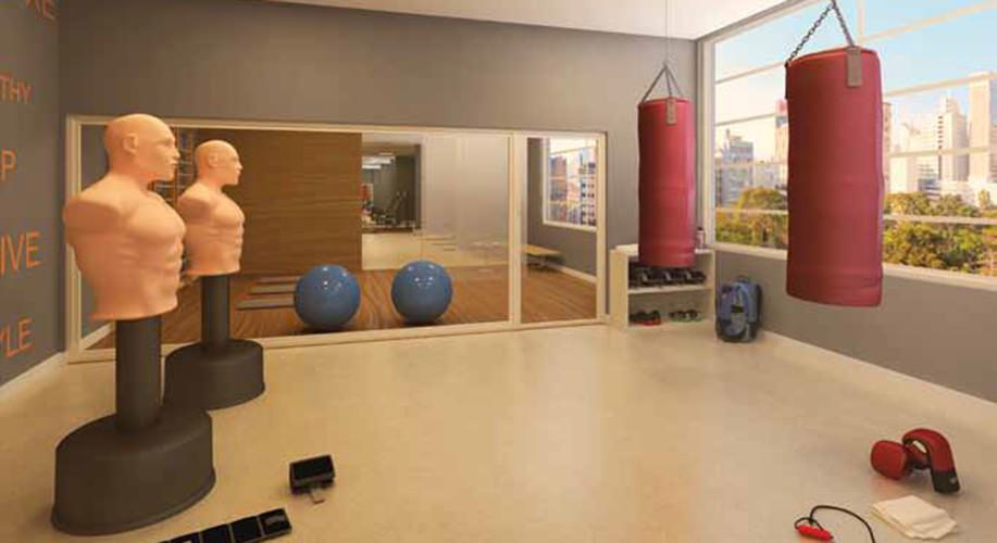 Perspectiva artística da sala de luta - Cidade Viva Residencial
