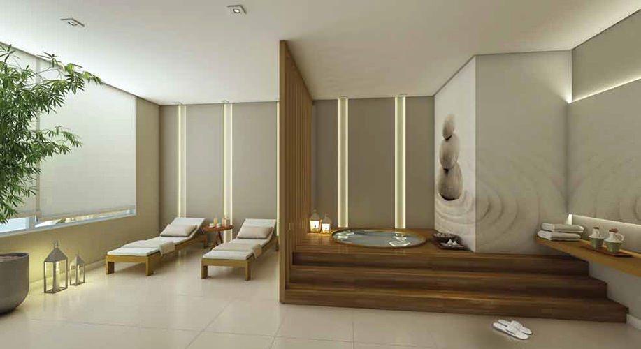 Perspectiva artística da sauna e spa - Cidade Viva Residencial
