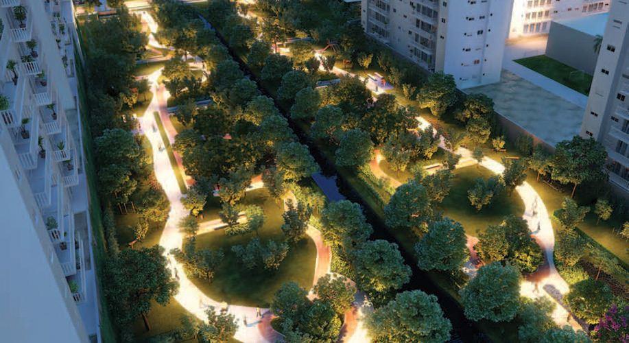 Perspectiva artística do Parque de Convivência e Parque Cidade Viva - Cidade Viva Offices