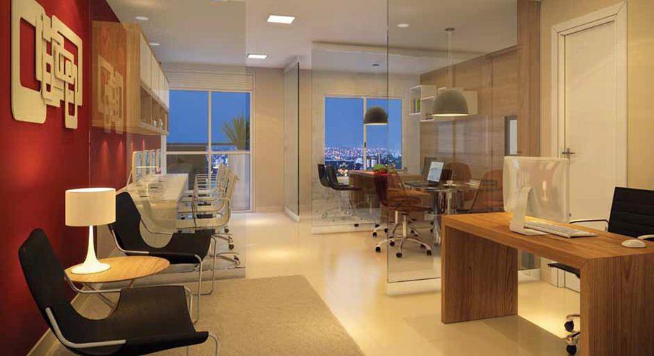 Perspectiva artística da sala de 37m² - Cidade Viva Offices