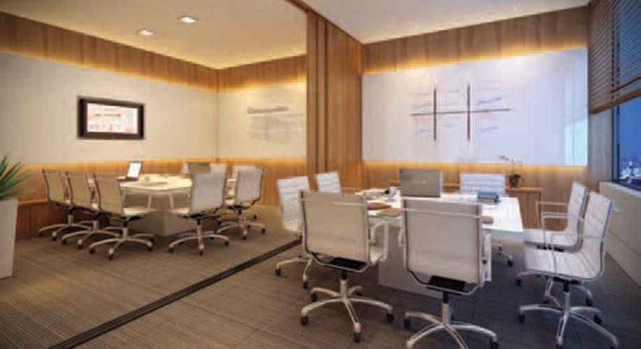 Perspectiva artística da sala de reunião - Cidade Viva Offices