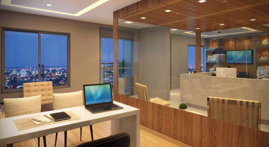 Perspectiva artística da sala-junção de 74m² - Cidade Viva Offices