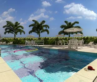 Perspectiva artística da piscina -