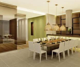 Perspectiva artística do salão de festas com espaço gourmet -