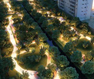 Perspectiva artística do Parque de Convivência e Parque Cidade Viva - Centro Empresarial Pereira Barreto