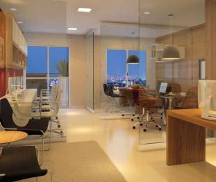 Perspectiva artística da sala de 37m² - Centro Empresarial Pereira Barreto