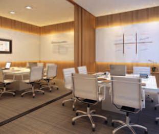 Perspectiva artística da sala de reunião - Centro Empresarial Pereira Barreto