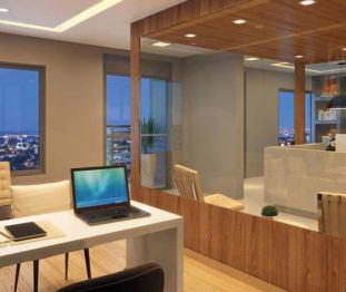 Perspectiva artística da sala-junção de 74m² - Centro Empresarial Pereira Barreto