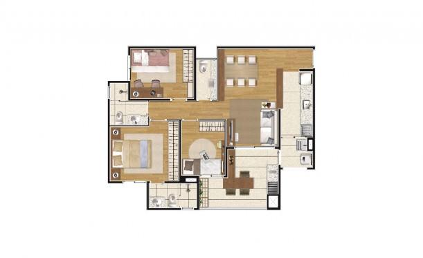 Perspectiva artística da planta de 79m² - 3 dorms. (1 suíte) - K Home