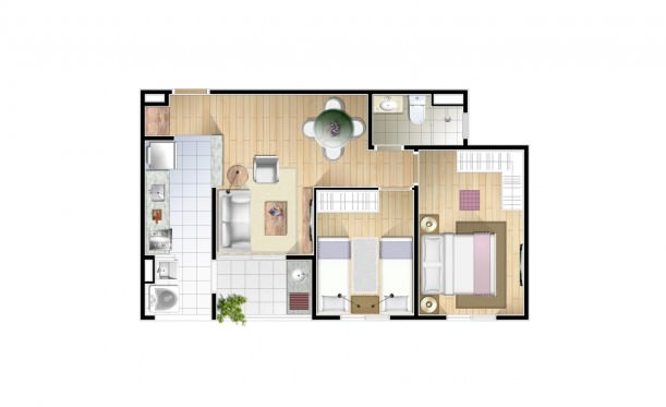 Perspectiva artística da planta de 54m² - 2 dorms. - Conquista Jardim Pedroso