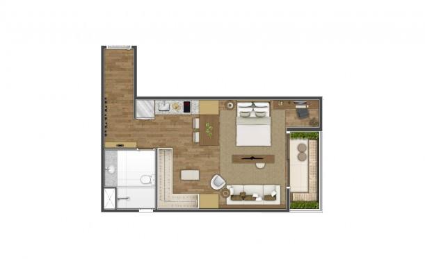 Perspectiva artística da planta de 46m² - Studio - K Home Lifestyle