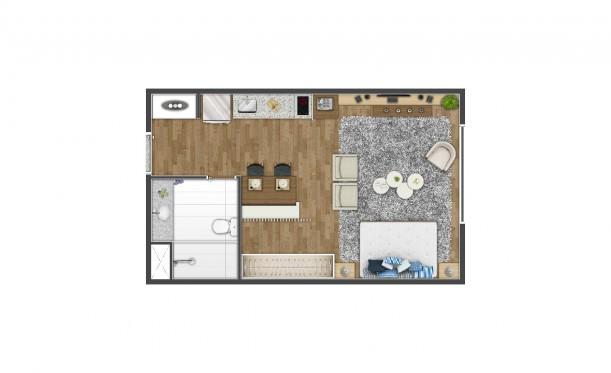 Perspectiva artística da planta de 36m² - Studio - K Home Lifestyle