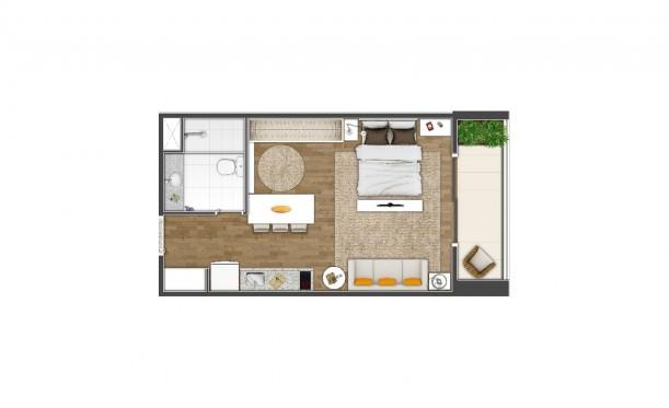 Perspectiva artística da planta de 42m² - Studio - K Home Lifestyle