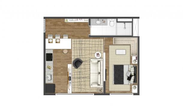 Perspectiva artística da planta de 44m² - Studio - K Home Lifestyle
