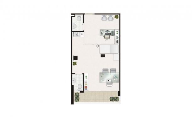 Perspectiva artística da planta de 46m² - São Caetano Prime Offices & Mall