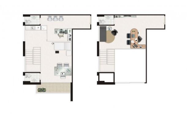 Perspectiva artística da planta duplex de 80m² - São Caetano Prime Offices & Mall