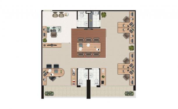Perspectiva artística da planta junção 2 salas de 92m² - São Caetano Prime Offices & Mall