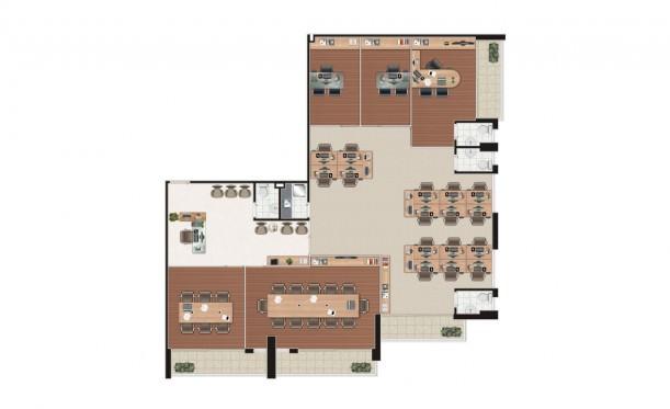 Perspectiva artística da planta junção 4 salas em L de 199m² - São Caetano Prime Offices & Mall