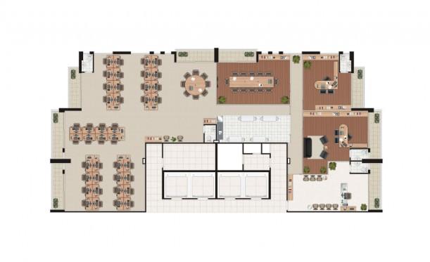 Perspectiva artística da planta meia laje de 398m² - São Caetano Prime Offices & Mall