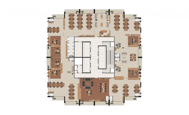 Perspectiva artística da planta laje corporativa de 804m² - São Caetano Prime Offices & Mall
