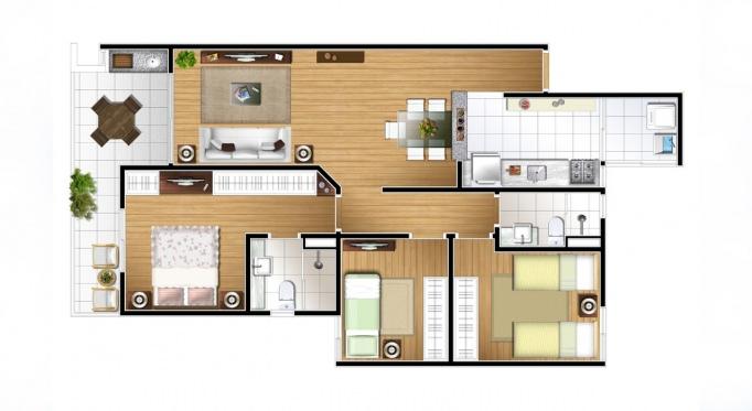 Perspectiva artística da planta de 82m² - 3 dorms. - Vitória Residencial