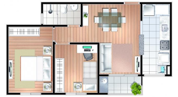 Perspectiva artística da planta de 49m² - 2 dorms. - Conquista Anchieta