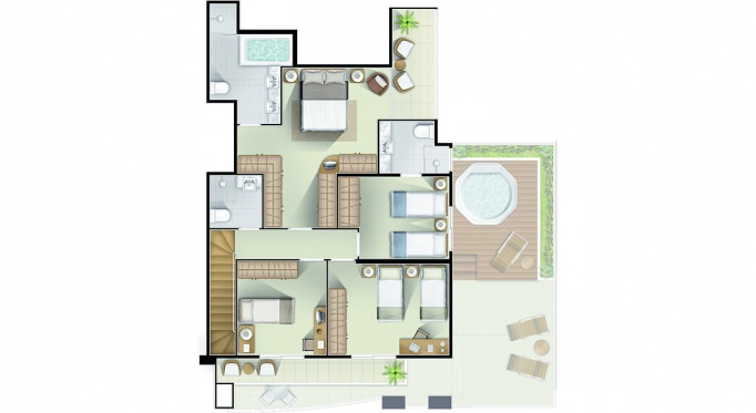 Perspectiva artística da planta cobertura pavimento superior - Torre A - 201m² - Le Boulevard Résidence