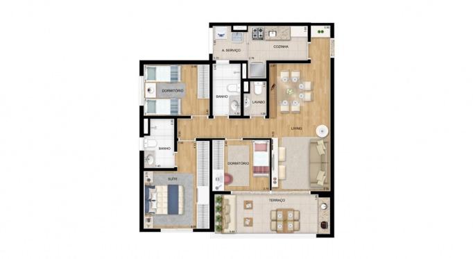 Perspectiva artística da planta de 85m² - 3 dorms. (1 suíte) - Paseo Diadema