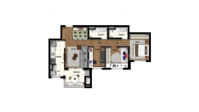 Perspectiva artística da planta de 69m² - 3 dorms. (1 suíte) - Cidade Viva Residencial