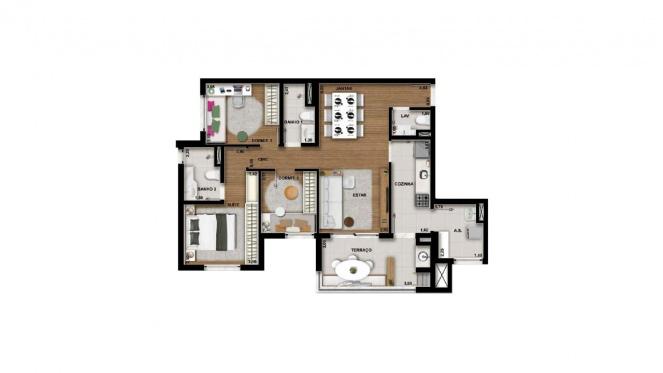Perspectiva artística da planta de 88m² - 3 dorms. (1 suíte) - Cidade Viva Residencial