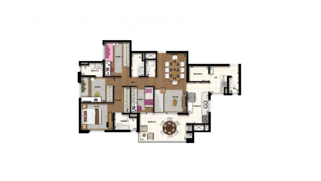 Perspectiva artística da planta de 120m² - 4 dorms. (2 suítes) - Cidade Viva Residencial