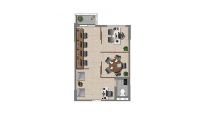 Perspectiva artística da planta de 37m² - Cidade Viva Offices