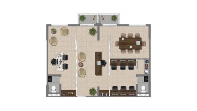 Perspectiva artística da planta-junção de 74m²* - Cidade Viva Offices