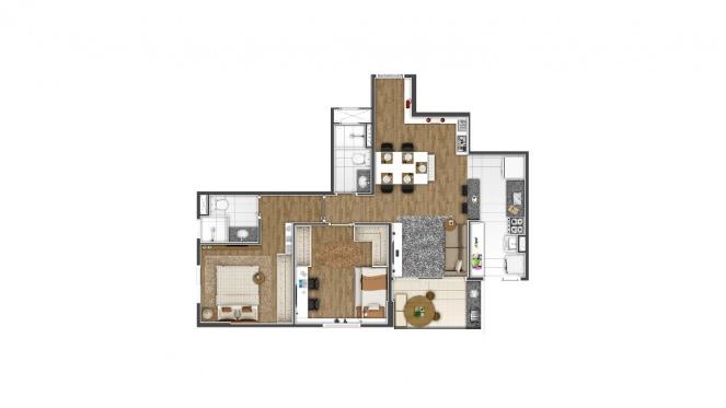 Perspectiva artística da planta de 63m² - 2 dorms. (1 suíte) - Di Thiene Verticale