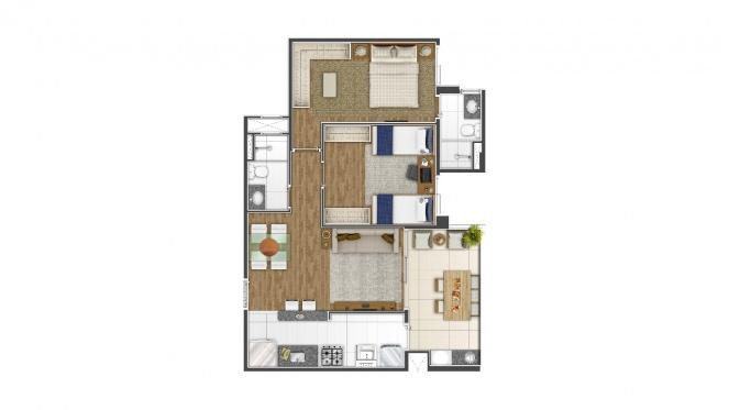 Perspectiva artística da planta de 64m² - 2 dorms. (1 suíte) - Di Thiene Verticale