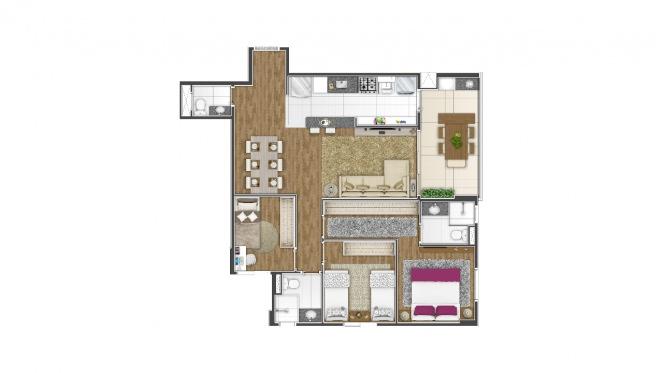 Perspectiva artística da planta de 85m² - 3 dorms. (1 suíte) - Di Thiene Verticale