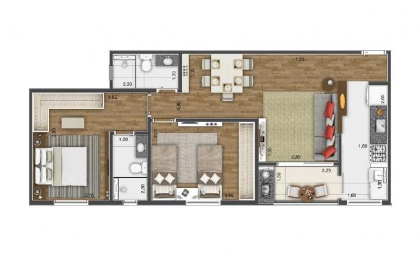 Perspectiva artística da planta de 65m² - 2 dorms. - Kennedy Park Home