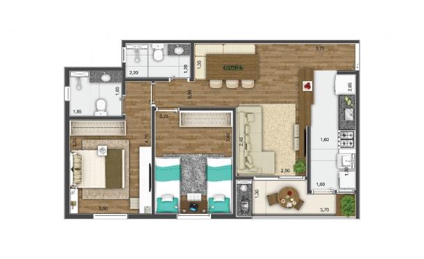 Perspectiva artística da planta de 64m² - 2 dorms. - Kennedy Park Home