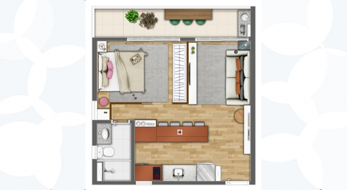 Perspectiva artística da planta tipo, 42m², decorada como 1 dormitório* - Kennedy Park Studios