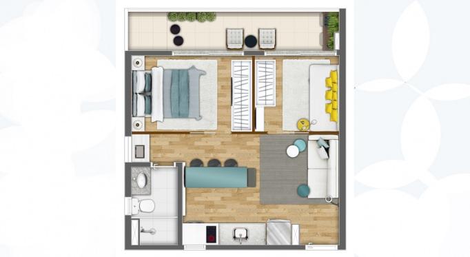 Perspectiva artística da planta tipo, 42m², decorada como 2 dormitórios* - Kennedy Park Studios